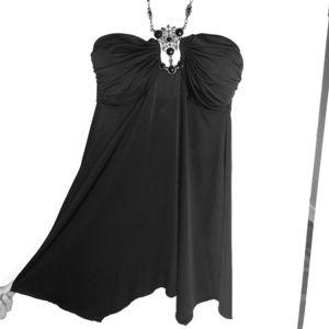 Black beaded tunic with padded bra